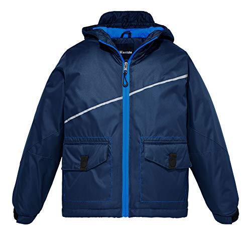 Wantdo Boy's Windproof Hoodie Rain Jacket Winter Coat Anorak(Dark Blue, 14/16)