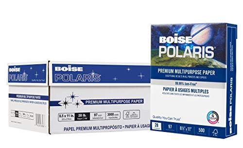 BOISE POLARIS Premium Multipurpose Paper, 8.5 x 11, 97 Bright White, 28 lb, 6 ream carton (3,000 Sheets)