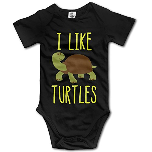 I Like Turtles Costume (Girl Boy Clothing I Like Turtles Short-Sleeveless Bodysuits One Pieces Summer Romper Newborn)