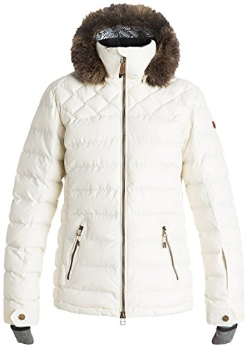 Roxy SNOW Junior's Quinn Ulquilted Tailored Fit Snow Jacket, Egret, L