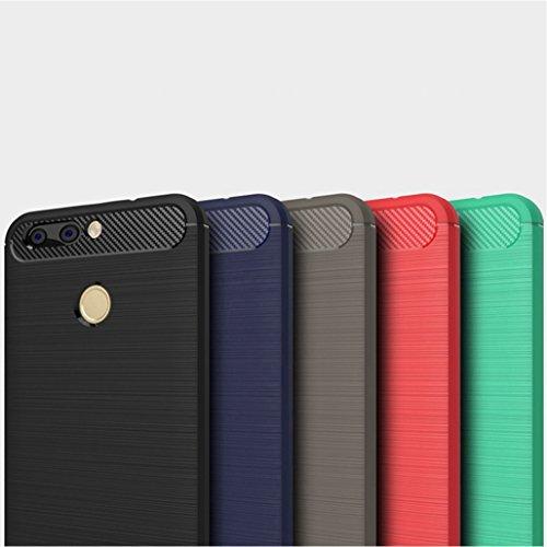 Funda Huawei Nova2,Funda Fibra de carbono Alta Calidad Anti-Rasguño y Resistente Huellas Dactilares Totalmente Protectora Caso de Cuero Cover Case Adecuado para el Huawei Nova2 B