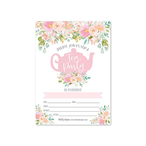 Tea Party Themed Bridal Shower (25 Floral Tea Party Invitations, Little Girl Garden Tea Cup Time Bridal or Baby Shower Invite, High Tea Themed Ladies Event Ideas, Vintage Kids Birthday Supplies, Printed or Fill in)