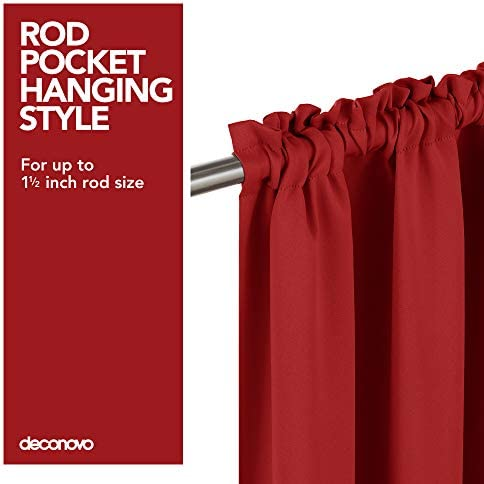 Deconovo Red Blackout Curtains Rod Pocket Drapes Window Curtains for Bedroom True Red 42W x 84L Inch 2 Panels 6
