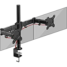 Duronic DM252 Dual PC Monitor Arm Stand Desk Mount Screen Bracket Clamp Double/Twin |LCD |LED | Tilt and Swivel (Tilt ±45°|Swivel 180°|Rotate 360°)