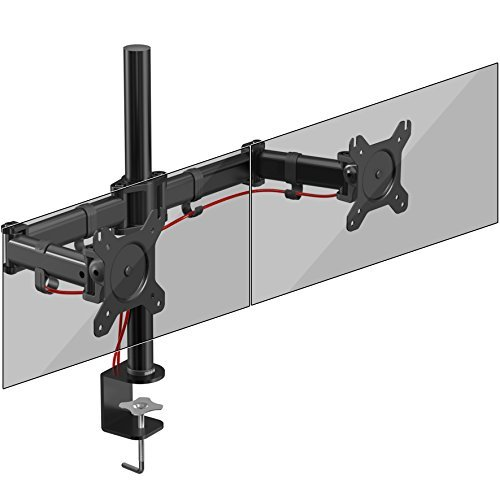 C Monitor Arm Stand Desk Mount Screen Bracket Clamp Double/Twin |LCD |LED | Tilt and Swivel (Tilt ±45°|Swivel 180°|Rotate 360°) ()
