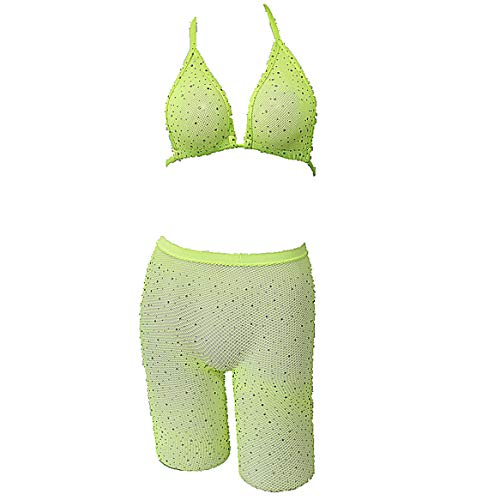 (Rhinestone Fishnet Diamond Beach Cover Up Sexy Women See Through Hollow Out Mesh Halter Crop Top and Shorts Set (Green))