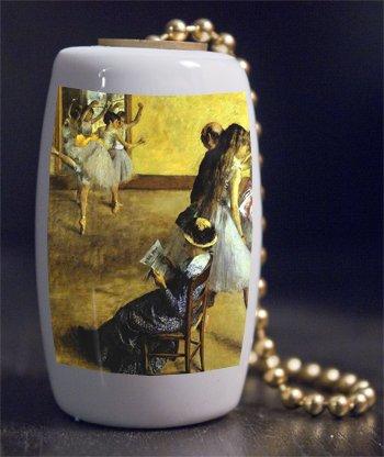 Fine Art Degas Ballet Class Porcelain Fan / Light Pull