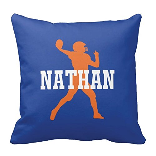 Best Throwback Costumes (Football Throw Pillow & Cover, Personalized, Custom, Boy's Name, Royal Blue, Orange ANY COLOR, NAME 14x14,)