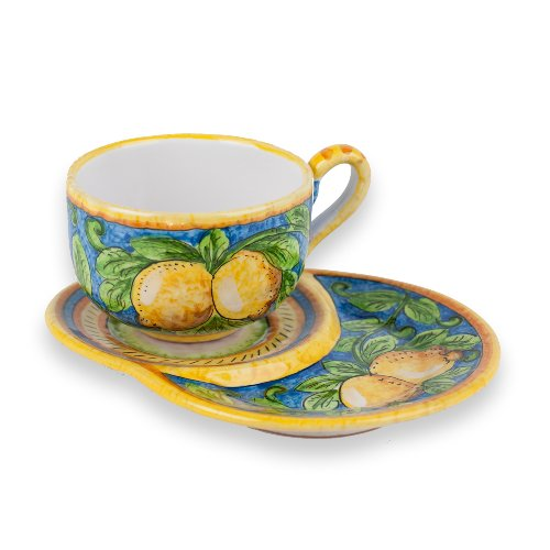 Hand Painted Limone Latte Cup with Saucer from Italy