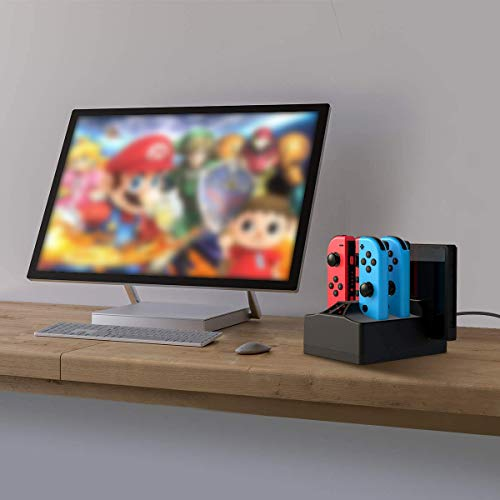 Charging Station for Switch, WeiCheng Switch Controller Charger Joy Con Charging Dock Stand Fast Charger Station for Nintendo Switch with LED Indicator Black