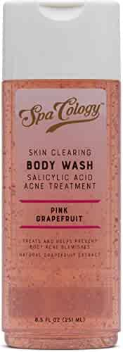 Spacology Skin Clearing Pink Grapefruit Body Wash, Salicylic Acid Acne Treatment, 8.5 Ounce (Pack of 4)