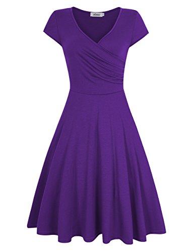 (MISSKY Purple Dresses for Women V Neck Short Sleeve Pullover Knee Length A line Elegant Slim Fit Flare Casual Retro Vintage Swing Cocktail Dresses for Women (L, Purple) )