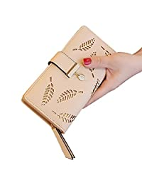 ShiningLove Long Women Bifold Hollowed Leaf Clutch Purse Multipockets Leather Wallet