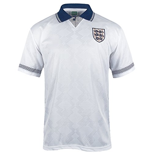 England Official Soccer Gift Mens 1990 World Cup Finals Home Shirt White (England Soccer Kit)
