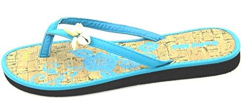 Chanclas Tropicales Para Mujer Tanga Pisos Diapositivas Sandalia Floral Verano Playa Zapatos Azul