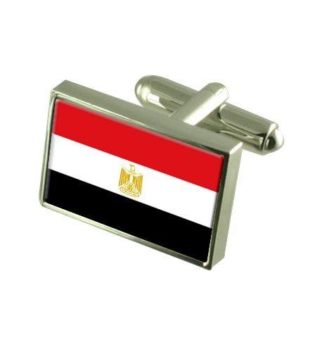 Egypte Boutons de manchette drapeau avec boîte de souvenir gravé
