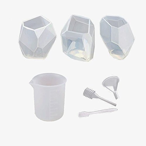 Muhuyi 3 Pack Resin Casting Molds DIY Silicone Molds for Epoxy Resin Including 3 Large Silicone Clear Casting Molds with Stir Sticks, 100ml scale beaker by Muhuyi