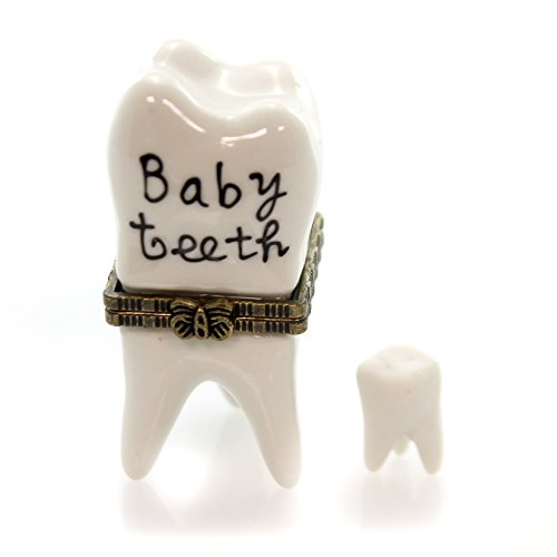 (Porcelain First Baby Tooth Teeth Hinged with Tiny Tooth Trinket Box, 2.5 Inches Tall )
