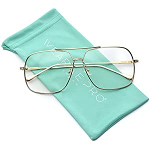 WearMe Pro – 70's Style Clear Glasses Gold Frame Aviator Style