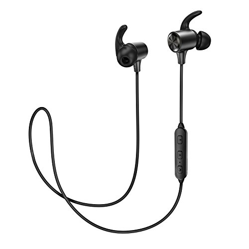 TaoTronics Wireless Earphones with Adjustable Earhooks for Extra Stability (IPX5 Waterproof & Sweat-Proof, AptX Lossless Sound, 8 Hours Playtime)