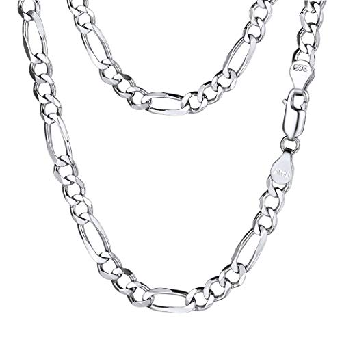 PROSTEEL 5mm 925 Sterling Silver Italy Figaro Chain Necklace 5mm Men Women Kids Chain Layering Necklace Cord 18'' ()