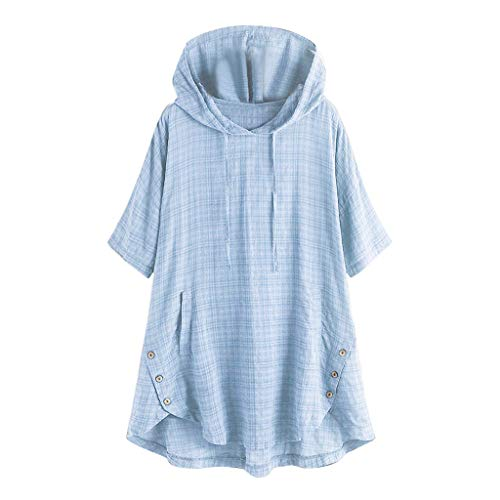 〓COOlCCI〓Women's Short Sleeve Hoodie Half Sleeve Regular Hem Asymmetrical Button Loose Fit Tunic Tops Pocket Tops Blouse Light Blue