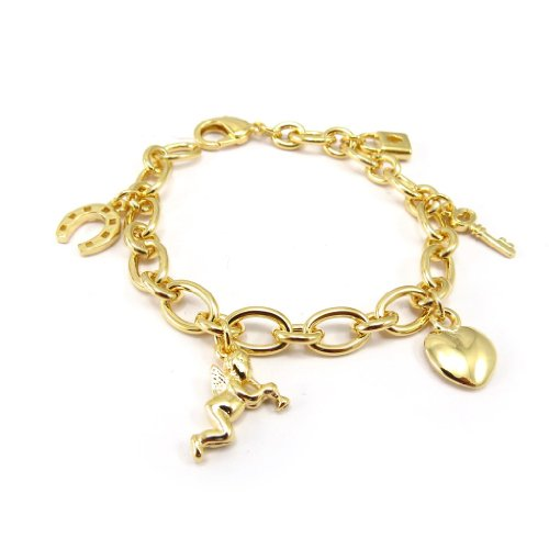 Les Trésors De Lily [K4760] - Bracelet Plaqué Or 'Grigris du Bonheur'