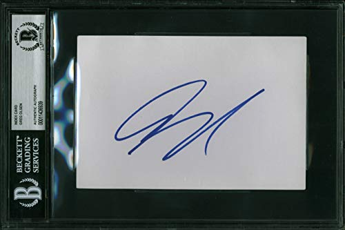 (Panthers Greg Olsen Authentic Signed 4x6 Index Card Autographed BAS Slabbed)