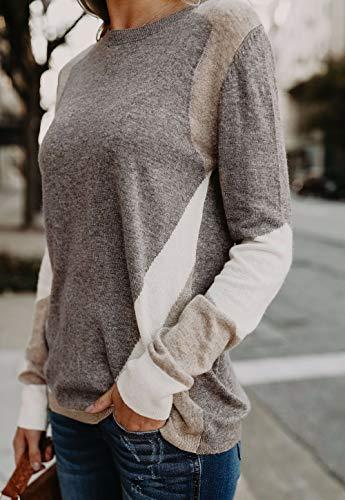 Haut Tricots Jumper Longue Rond Gris Sweat Shirts Top Printemps Blouse Pulls Manche Pullover et Chandail Femme Patchwork Col Fashion Automne nqxR01w6