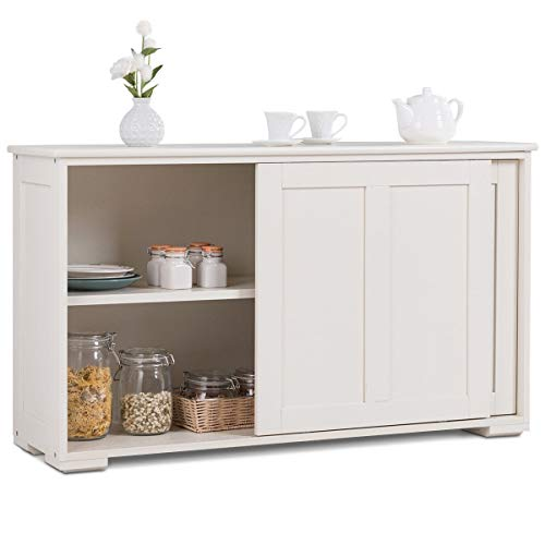 Cypress Shop Buffet Cabinet Kitchen Storage Cupboard Sideboard Elegant Design Wooden Sliding Doors Pantry Cooking Tools Utility Organizer Dining Room Display Shelving Unit Home Furniture (White)