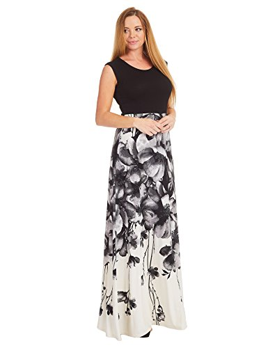 WB1390 Womens Print Contrast Sleeveless Empire Line Maxi Dress XXL BLACK_IVORY by Lock and Love (Image #1)