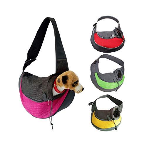 Bigfan Pet Carrier Cat Puppy Small Animal Dog Carrier Sling Front Mesh Travel Tote Shoulder Bag Backpack,Pink,S,France