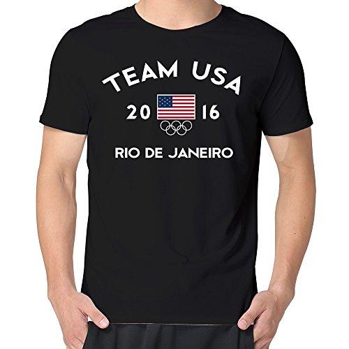 VARY Men's Team USA 2016 Olympics Rio De Janeiro T-shirt Short Tee Black