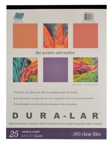 Grafix Clear 0.003 Dura-Lar Film, 14-Inch by 17-Inch, 25 Sheets