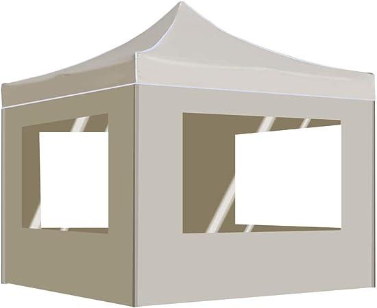 vidaXL Carpa Plegable Profesional con Paredes Aluminio Cenador Pagoda Jardín Pérgola Fiestas Celebraciones Estructuras Recintos Parasoles 3x3 m Crema: Amazon.es: Hogar