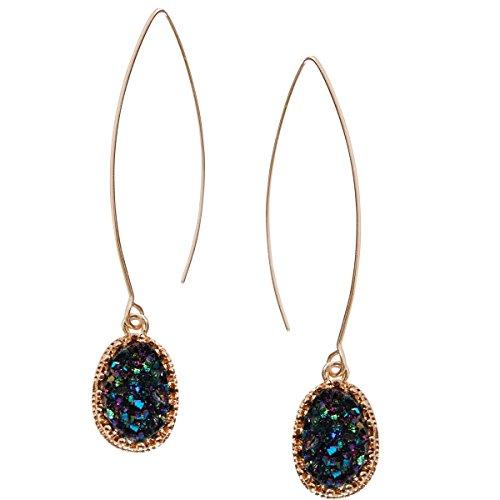 (Humble Chic Simulated Druzy Needle Drops - Gold-Tone Threader Upside-Down Hoop Dangle Earrings for Women, Iridescent, Dark Blue, Metallic, Gold-Tone)