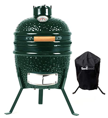 Chefood 13″ Ceramic Kamado Portable BBQ Charcoal Grill With Cover