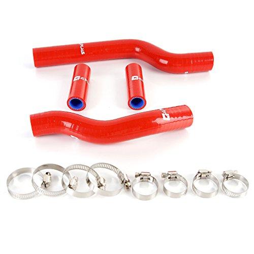 (Silicone Coolant Radiator Tube Kit Clamps For YAMAHA YZ250 YZ 250 2002-2013 03 04 05 06 07 08 09 10 11 12 Red 4pcs)