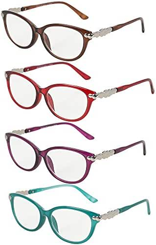 Pack of 4 Women's Reading Glasses - Stylish, Comfortable Ladies' Readers, Plastic Frame with AC Clear Corrective Lenses - By Optix 55