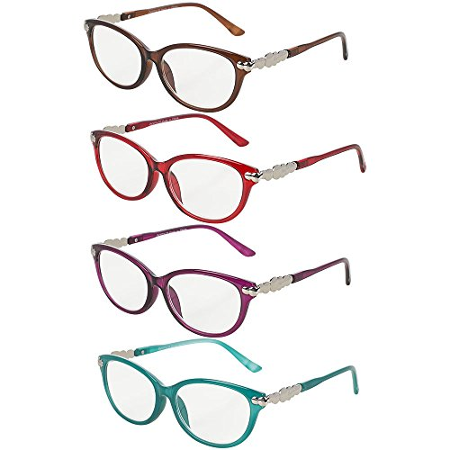 Pack of 4 Women's Reading Glasses - Stylish, Comfortable Ladies' Readers, Plastic Frame with AC Clear Corrective Lenses - By Optix - Ladies Eye Glasses