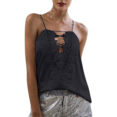 ( Women's Summer Camisole,LuluZanm Sales! Ladies Sexy Casual Flower Stitching Vest Tops V-Neck Basic Strappy Camisole Black)