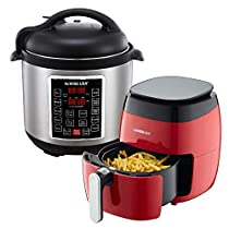 GoWISE USA 3.7-Quart 8-in-1 Digital Touchscreen Air Fryer (Red, GW2826) + Recipe Book AND GoWISE USA 8-Quart 10-in-1 Electric Pressure Cooker (Stainless Steel, GW22623) + Recipe Book