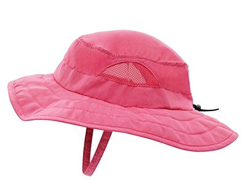 Connectyle Kids UPF 50+ Mesh Safari Sun Hat UV Sun Protection Hat Summer Daily Play Hat (Hot Pink) ,50-54cm/19.6