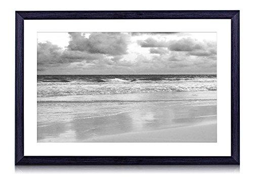 perfect beach scene - Art Print Black Wood Framed Wall Picture Black White