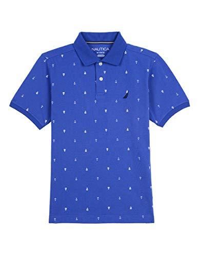 Nautica Boys' Short Sleeve Printed Polo Shirt, Waikiki Blue Small ()