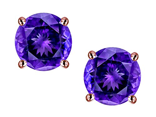 Star K Classic Round 7mm Genuine Amethyst Four Prong Stud Earrings 10 kt Rose Gold
