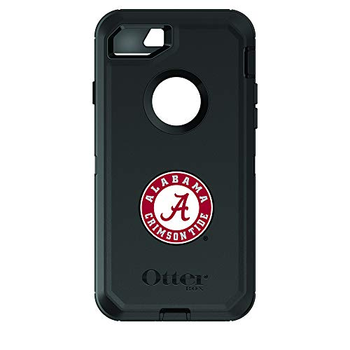 Fan Brander NCAA Black Phone case, Compatible with Apple iPhone 8 and iPhone 7 and with OtterBox Defender Series (Alabama Crimson Tide) Alabama Crimson Tide Grips