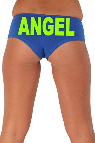 [Women's Juniors Green Angel Booty Shorts: ROYAL SMALL] (Biker Babe Sexy Costumes)