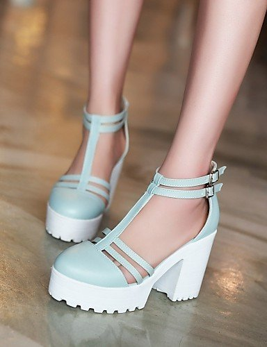Heel Round Career ShangYi Toe Pink amp; Dress White Shoes Women's Office Stiletto White Sandals Blue qRqwtgF
