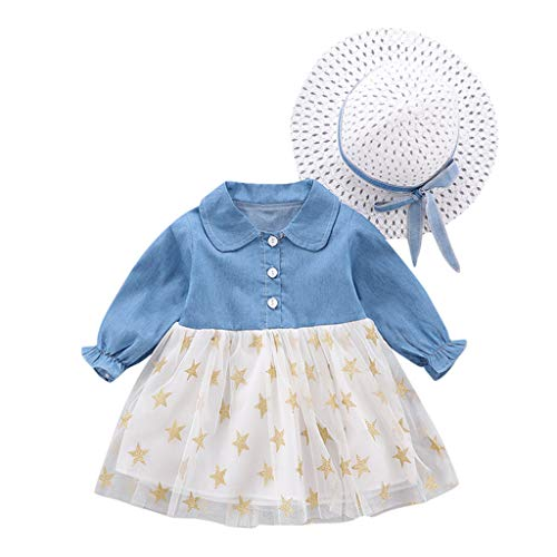 Toddler Baby Girl Dress,Crytech Long Sleeve Button Up Denim Jeans Splice White Tulle Tutu Dots Star Bowknot Princess Wedding Dress Skirt with Straw Flat Top Hat Outfit (3-6 Months, Star)